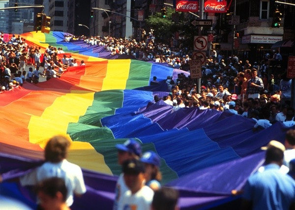 Giant Gay Pride Flag unfurled during Stonewall 25